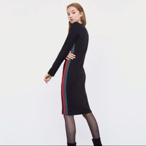 Zara Black Midi Dress Red & Green Side Striped